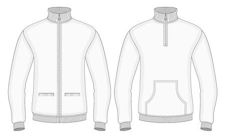 sudadera: Suéteres de cuello alto de los hombres con cremallera y bolsillos (vista frontal). Ilustración del vector. No malla. Redact color muy fácil.