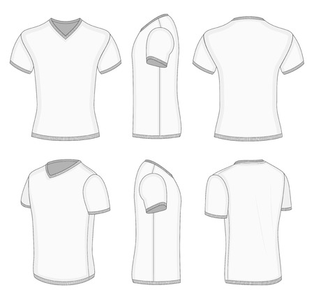 All views men's white short sleeve t-shirt v-neck design templates. Vector illustration. No mesh. Ribbed collar, cuffs and waistband.
