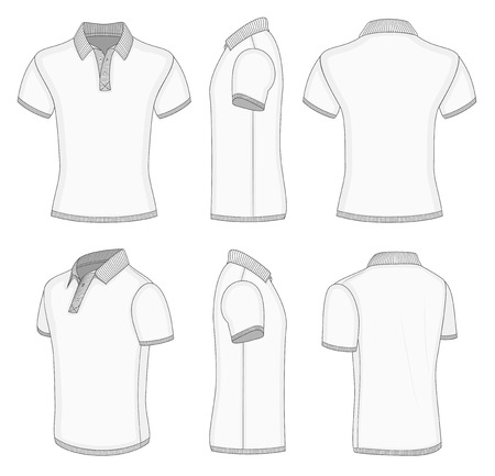 All views men's white short sleeve polo shirt design templates (front, back, half-turned and side views). Ribbed collar, cuffs and waistband. Vector illustration