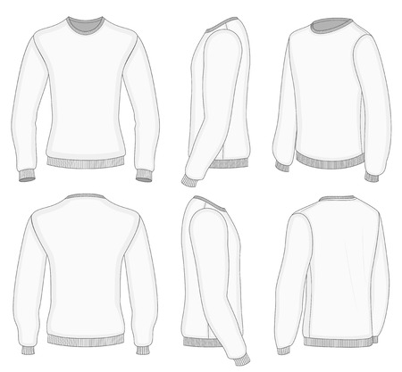 All six views men's white long sleeve t-shirt design templates (front, back, half-turned and side views). Vector illustration. Ribbed collar, cuffs and waistband.