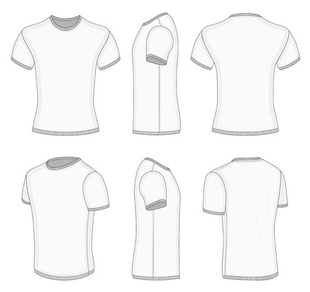 All six views men's white short sleeve t-shirt design templates (front, back, half-turned and side views). Vector illustration. Ribbed collar, cuffs and waistband.