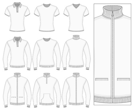 Mens short and long sleeve clothes templates (front view). Vector illustration. No mesh. Redact color very easy. Ribbed collar, cuffs and waistband. Illustration
