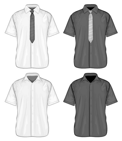 Vector illustration of short sleeve dress shirts (button-down) with and without neckties. Front view. 向量圖像