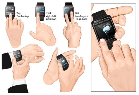 Set of multi-touch gestures for smart-watch. Vector