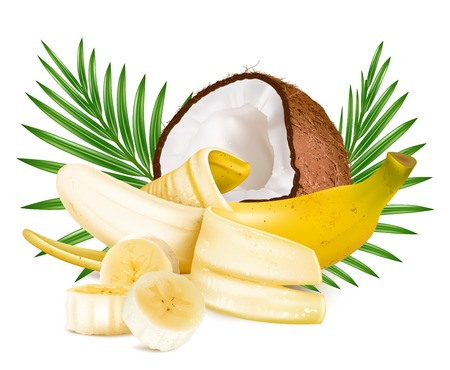 exotic fruit: Open ripe  banana  and coconut