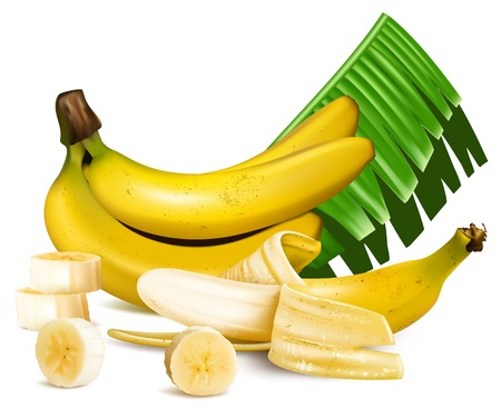 Ripe yellow bananas with slices and leaves.