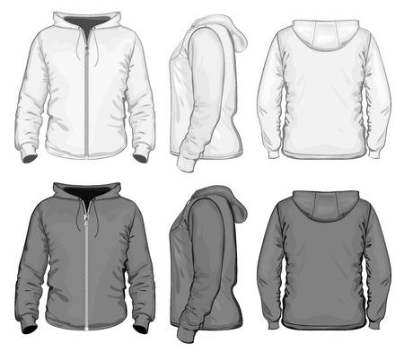sweatshirt: Hombres sudadera con capucha y cremallera