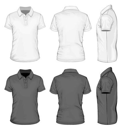 メンズ半袖ポロシャツ デザイン テンプレート。  イラスト・ベクター素材