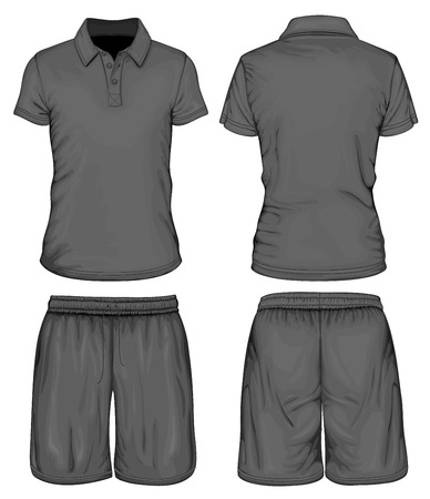 Men\'s polo-shirt and sport shorts 일러스트