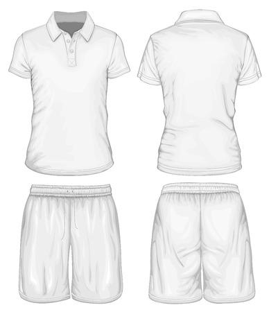 Men\'s polo-shirt and sport shorts Illustration