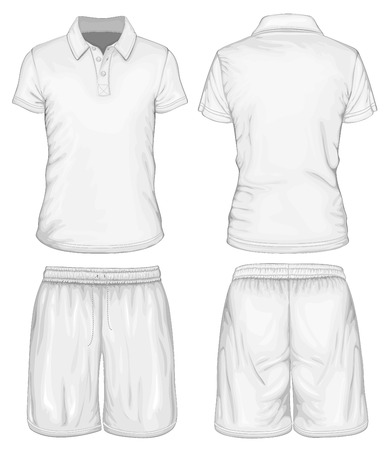 t shirt template: Mens polo-shirt and sport shorts