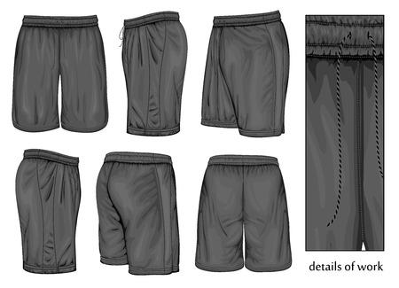 long pants: Mens black sport shorts.  Illustration