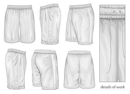 long pants: Mens white sport shorts.  Illustration