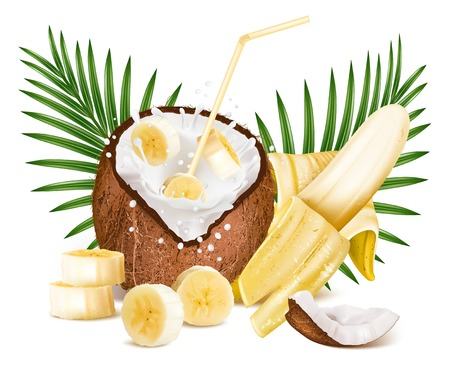 Coconut with milk splash and slices of bananas. Stock Illustratie