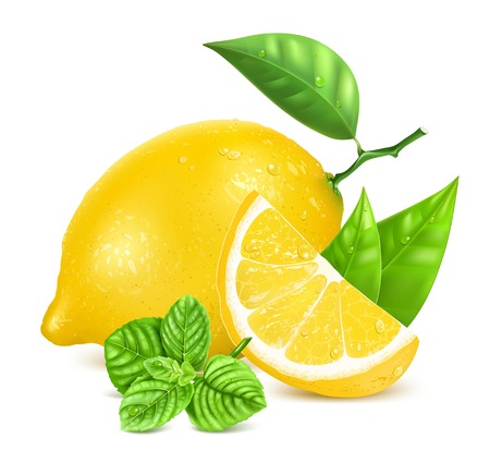 vitamin c: Fresh lemons with leaves and mint.