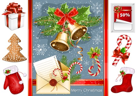Collection of Christmas traditional objects. Vector
