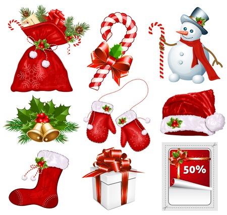 Traditional Christmas symbols. Illustration