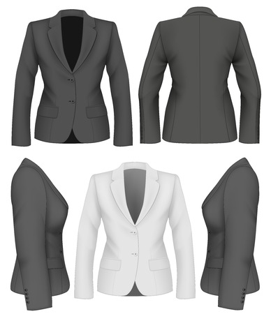 woman side view: Ladies suit jacket for business women. Vector illustration.