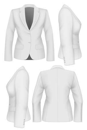 for women: Ladies suit jacket for business women. Vector illustration.