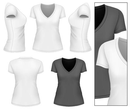 女性の v ネック t シャツのデザイン テンプレートです。ベクトル イラスト。