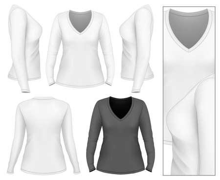 long sleeve: Womens v-neck long sleeve t-shirt . Vector illustration.