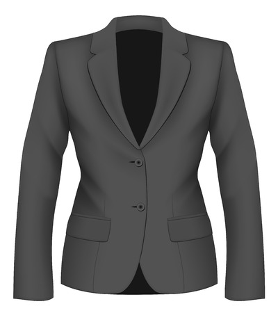 for women: Ladies black suit jacket for business women. Vector illustration.