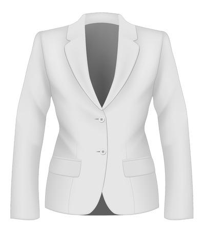 Ladies white suit jacket for business women. Formal work wear. Vector illustration.
