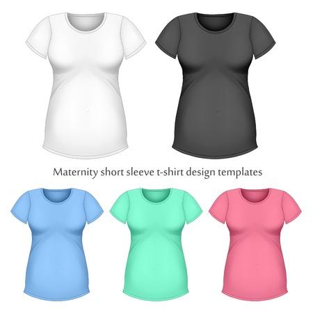 sleeve: Maternity short sleeve t-shirt design templates. Illustration