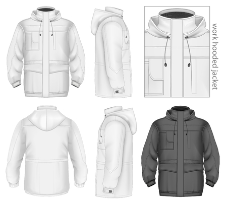 encapuchado: Los hombres trabajan chaqueta con capucha Vectores