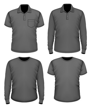 man rear view: Men black short and long sleeve clothes. Illustration