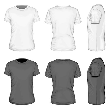 back: Los hombres de manga corta camiseta blanco y negro Vectores
