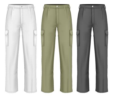 trousers: Men work trousers. Illustration
