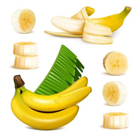 platano maduro: Pl�tano amarillo maduro Vectores
