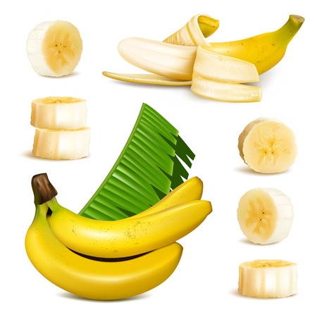 banana leaf: Ripe yellow banana