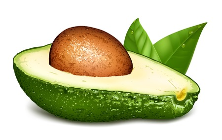 pear shaped: Avocado with core and leaves.