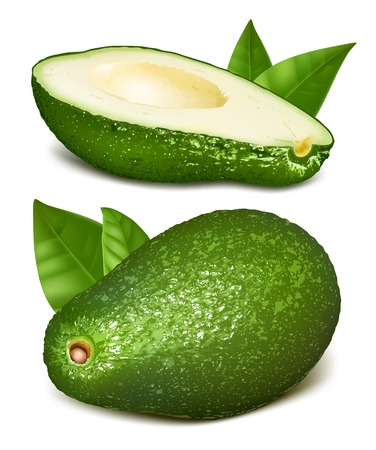 pear shaped: Avocadoes with leaves.