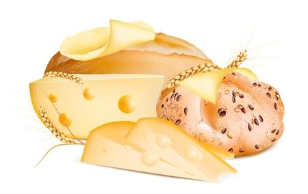 pan con mantequilla: Pan con mantequilla y queso. Vectores