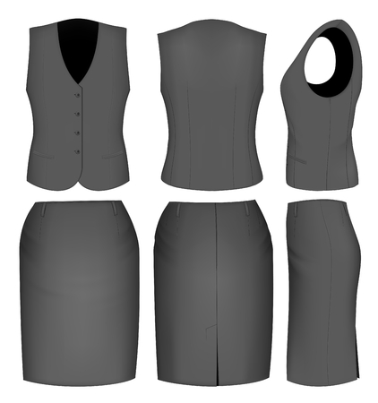 skirt suit: Formal black skirt suit for women