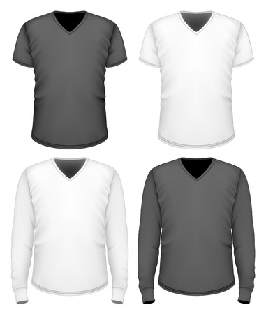 v neck: Men t-shirt v-neck short and long sleeve. Illustration