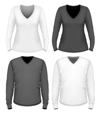 Women and men v-neck t-shirt long sleeve. Illustration