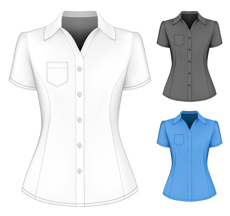 sleeved: Formal short sleeved blouses for lady.