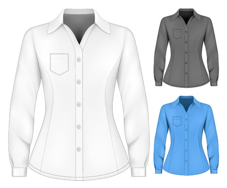 camisas: Blusas de manga larga formales para dama. Vectores