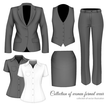 The Outfits for the Professional Business Women. Vettoriali
