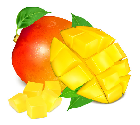 Ripe fresh mango with slices and leaves.
