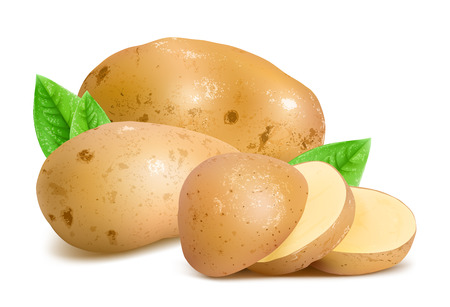 Potatoes with slices and leaves. Stock Illustratie