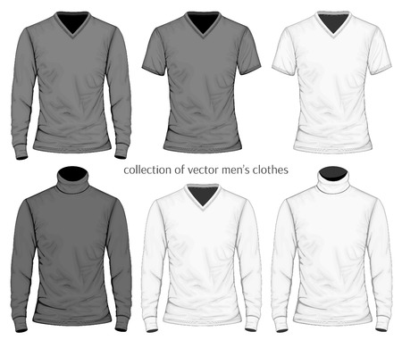 v neck: Vector collection of men clothes.