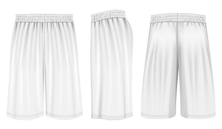 side views: Basketball shorts, front, back and side views. Fully editable handmade mesh. Vector illustration.