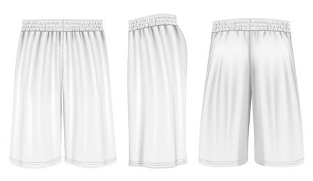 pantaloncini da basket, anteriore, posteriore e vista laterale. Completamente a mano modificabili in rete. Illustrazione vettoriale.