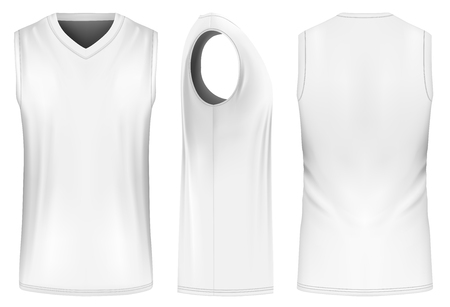 Basketball tank top, front, back and side views. Fully editable handmade mesh. Vector illustration.