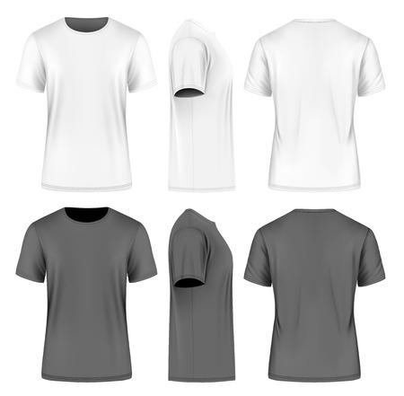 Mężczyźni z krótkim rękawem t-shirt. Przednie, boczne i tylne widoki. ilustracji wektorowych. Pełni edytowalne ręcznie siatki. Czarne i białe odmiany.